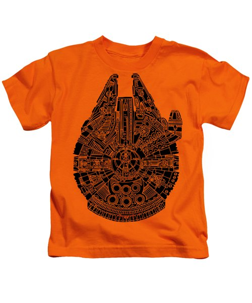 Star Wars Art - Millennium Falcon - Black Kids T-Shirt