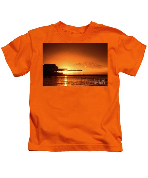 Starlings At Sunset Over Aberystwyth Pier Kids T-Shirt