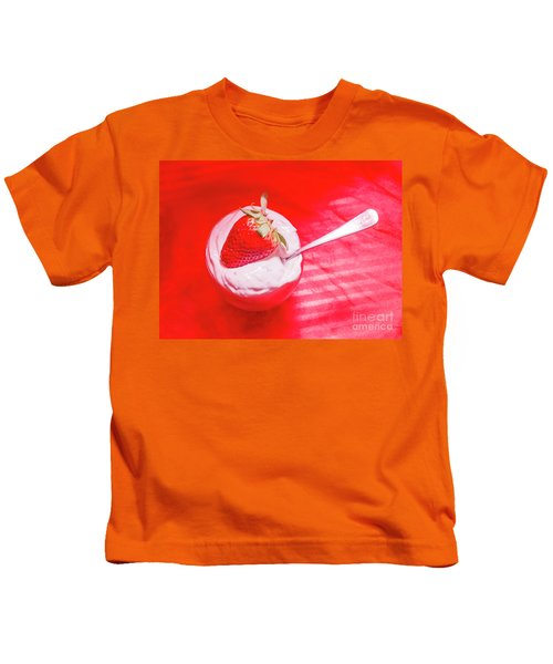 Strawberry Yogurt In Round Bowl With Spoon Kids T-Shirt