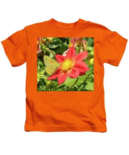 Sulfur Butterfly On Flower Kids T-Shirt