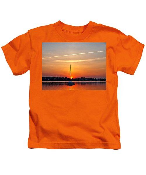 Summer Sunset At Anchor Kids T-Shirt