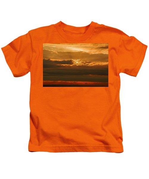 Sun Behind Dark Clouds In Vogelsberg Kids T-Shirt