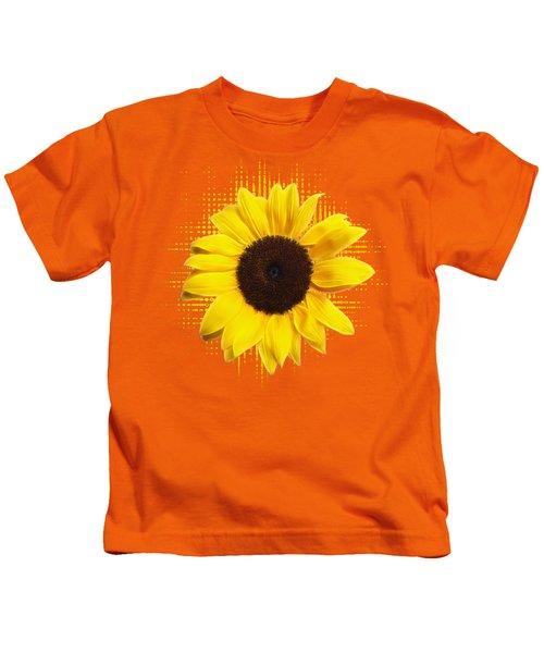 Sunflower Sunburst Kids T-Shirt by Gill Billington