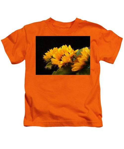 Sunflowers On A Black Background Kids T-Shirt