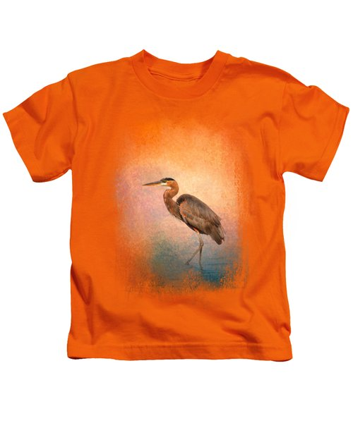 Sunset Heron Kids T-Shirt by Jai Johnson