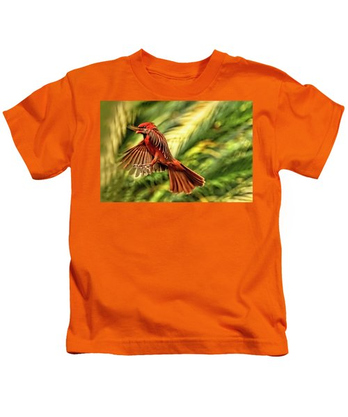 The Male Cardinal Approaches Kids T-Shirt