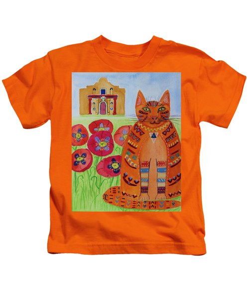 the Orange Alamo Cat Kids T-Shirt
