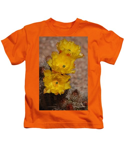 Three Yellow Cactus Flowers Kids T-Shirt