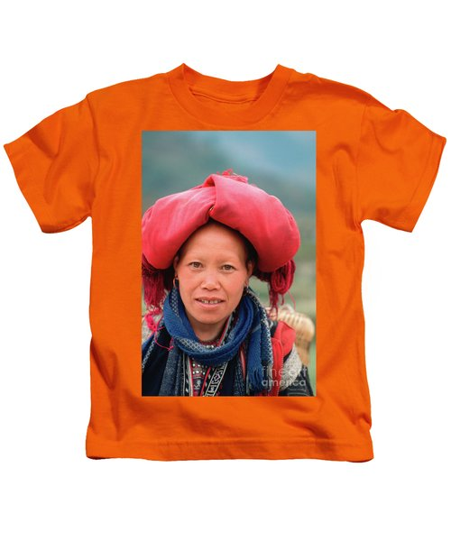 Traditional Fashion Of A Red Dzao Woman Kids T-Shirt