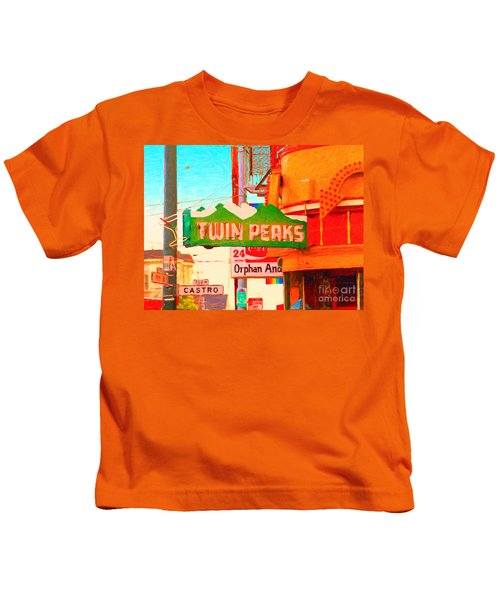 Twin Peaks Gay Bar In San Francisco . Painterly Style Kids T-Shirt