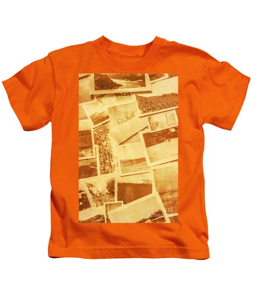 Vintage Image Of Various Photographs On Table  Kids T-Shirt