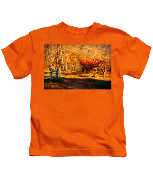 Walking Down The Autumn Path Kids T-Shirt