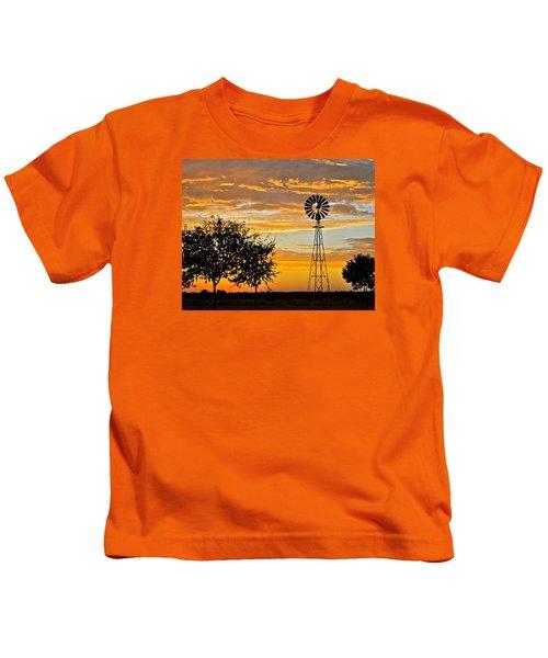 Windmill At Sunset Kids T-Shirt