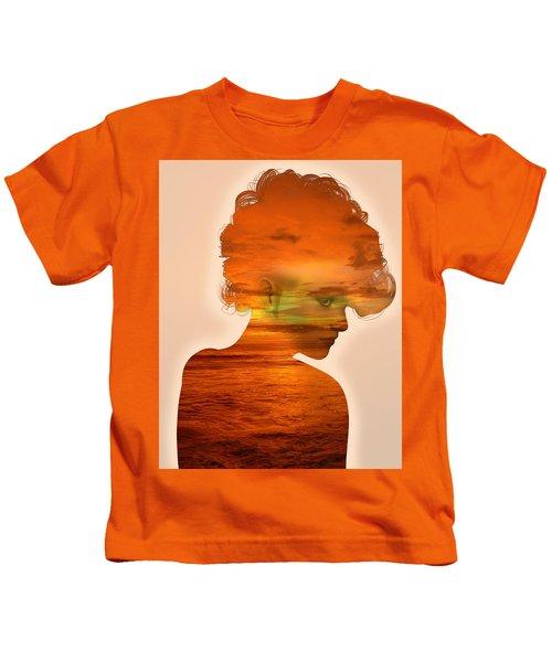 Woman And A Sunset Kids T-Shirt