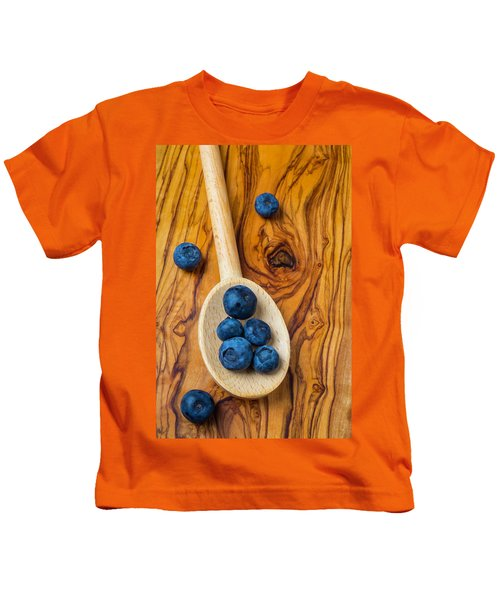 Wooden Spoon And Blueberries Kids T-Shirt by Garry Gay