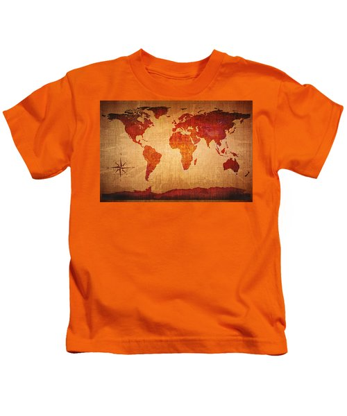 World Map Grunge Style Kids T-Shirt