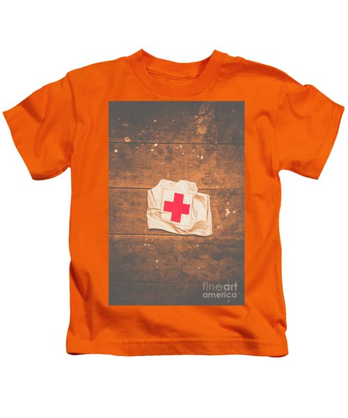 Ww2 Nurse Cap Lying On Wooden Floor Kids T-Shirt