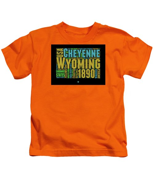 Wyoming Word Cloud Map 1 Kids T-Shirt