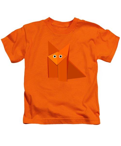 Yellow Cute Origami Fox Kids T-Shirt by Boriana Giormova