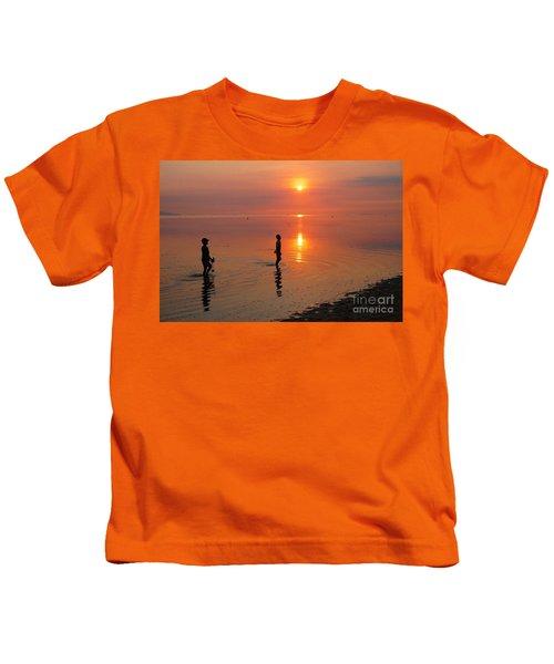 Young Fishermen At Sunset Kids T-Shirt