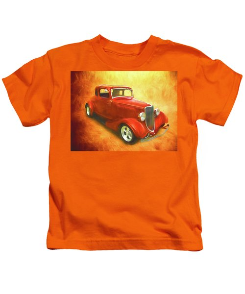 1934 Ford On Fire Kids T-Shirt