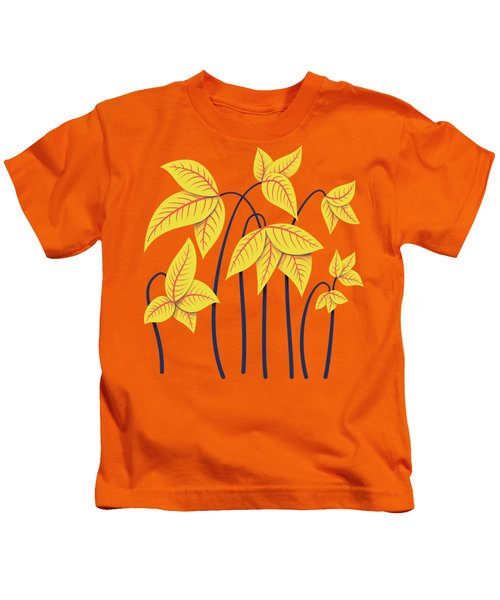 Abstract Flowers Geometric Art In Vibrant Coral And Yellow  Kids T-Shirt