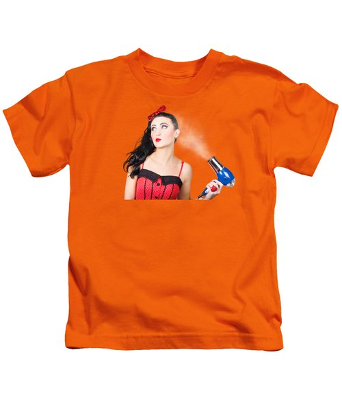 Attractive Brunette Girl Dressed In Red Kids T-Shirt