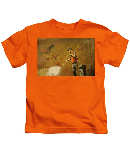 Kids T-Shirt featuring the photograph Banksy's Cave Painting Cleaner by Gigi Ebert