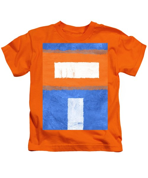 Blue And Orange Abstract Theme II Kids T-Shirt