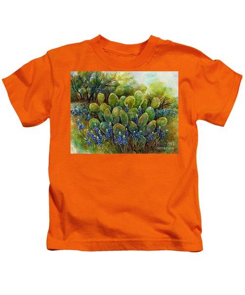 Bluebonnets And Cactus 2 Kids T-Shirt