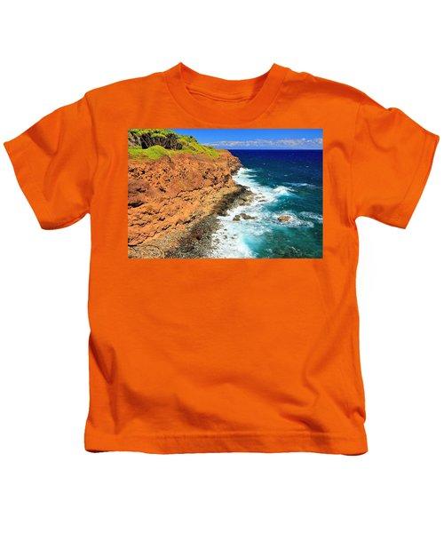 Cliff On Pacific Ocean Kids T-Shirt