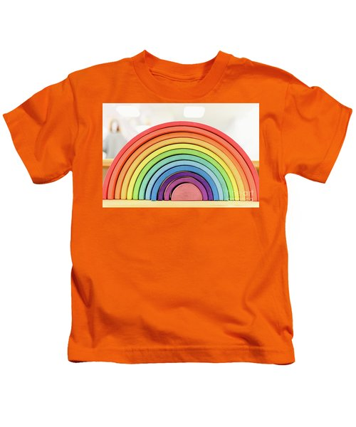 Colorful Waldorf Wooden Rainbow In A Montessori Teaching Pedagogy Classroom. Kids T-Shirt