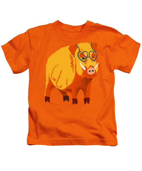 Cute Boar Pig With Glasses  Kids T-Shirt