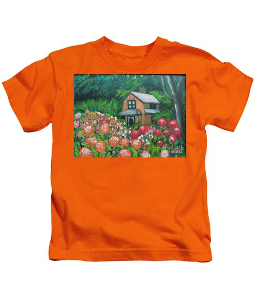 Dahlias In The Woods Kids T-Shirt