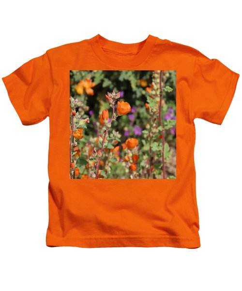 Kids T-Shirt featuring the photograph Desert Wildflowers by Judy Kennedy
