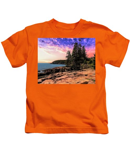 Distant View Of Otter Cliffs,acadia National Park,maine. Kids T-Shirt