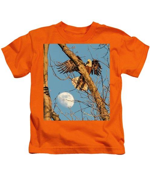 Eagle And Moon  Kids T-Shirt