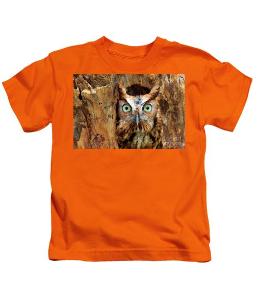 Eastern Screech Owl Perched In A Hole In A Tree Kids T-Shirt