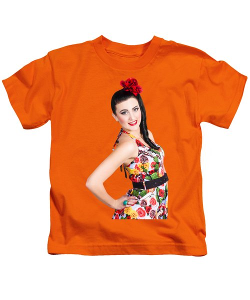 Elegant Latino Dancer Girl Performing Salsa Dance Kids T-Shirt