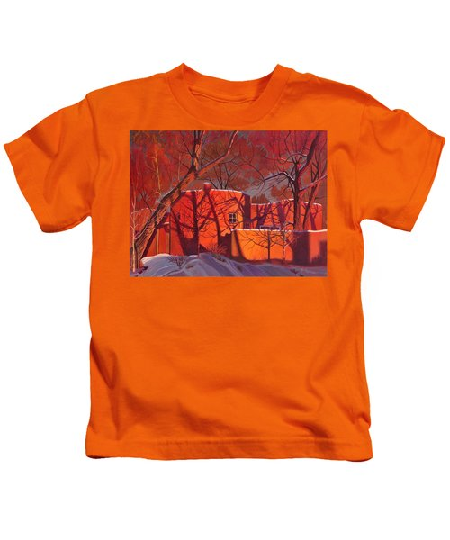 Evening Shadows On A Round Taos House Kids T-Shirt