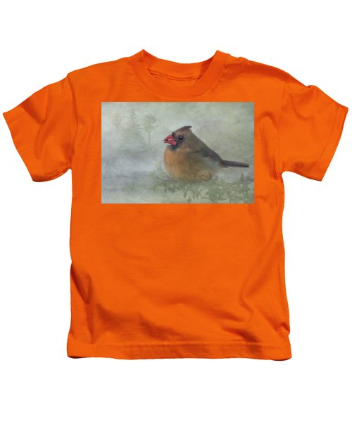Female Cardinal With Seed Kids T-Shirt