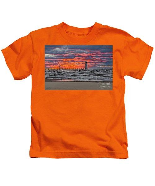 First Day Of Fall Sunset Kids T-Shirt