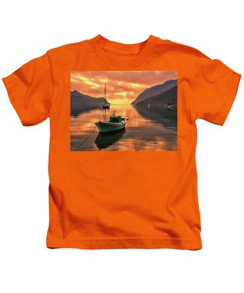 Fishing Boats At Sunset Simi Greek Islands-dwp40406001 Kids T-Shirt