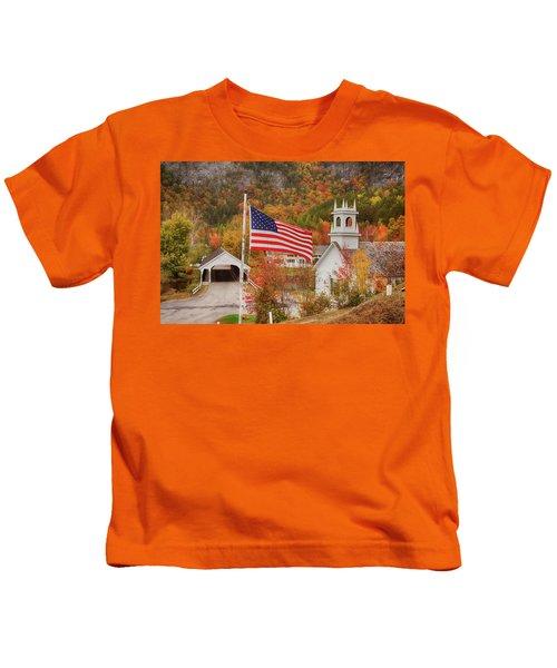 Flag Flying Over The Stark Covered Bridge Kids T-Shirt