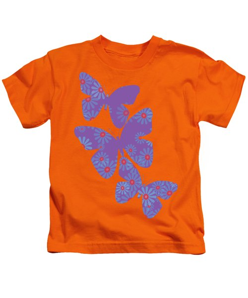 Floral Butterflies In Purple And Liiving Coral Kids T-Shirt