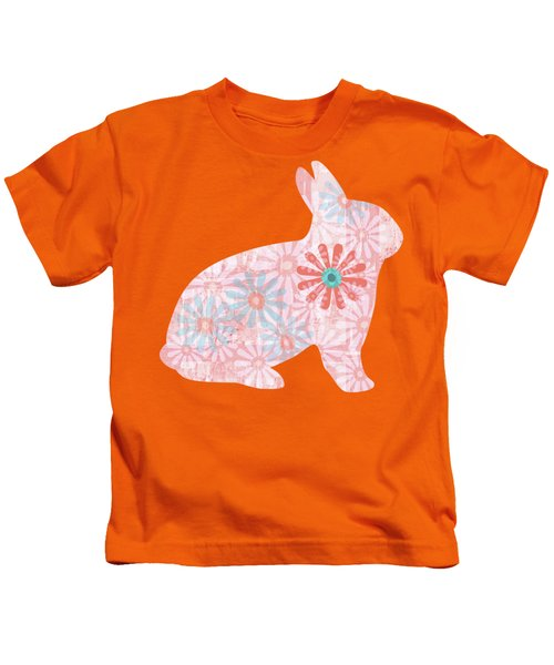 Floral Rabbit In Living Coral II Kids T-Shirt