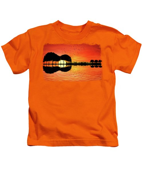 Guitar Island Sunset Kids T-Shirt