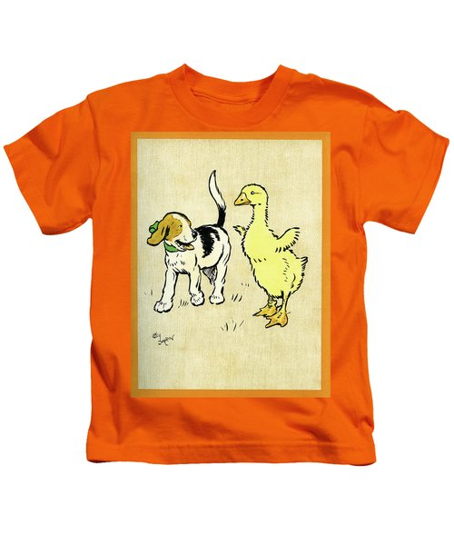 Illustration Of Puppy And Gosling Kids T-Shirt