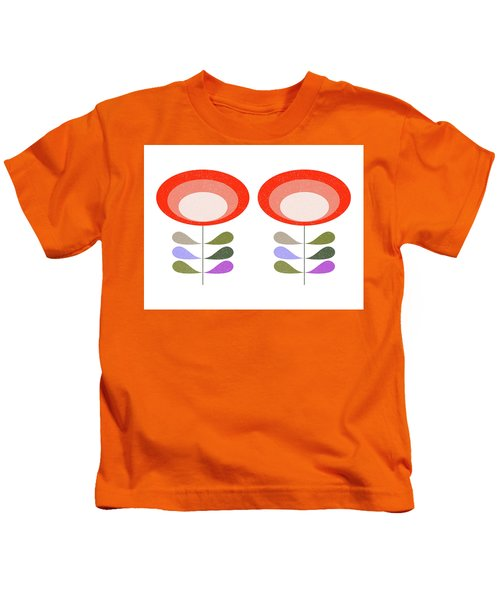 Mid Century Modern Orange Flowers II Kids T-Shirt