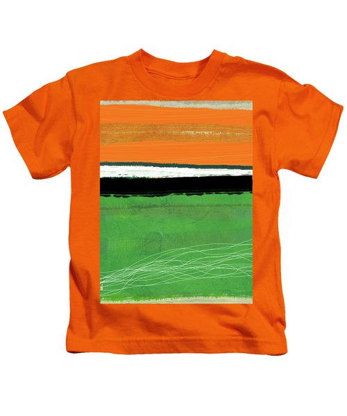 Orange And Green Abstract I Kids T-Shirt